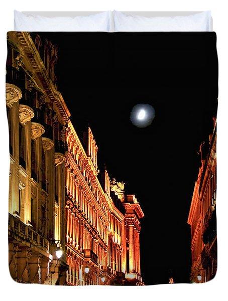Bright Moon In Paris Duvet Cover