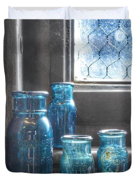 Bromo Seltzer Vintage Glass Bottles Duvet Cover