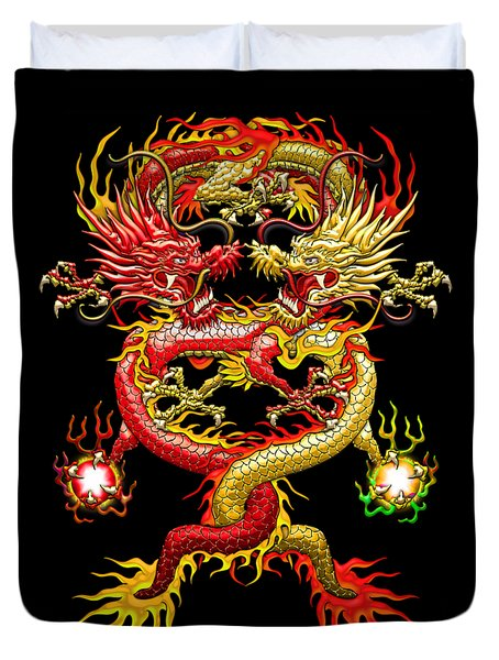 Brotherhood Of The Snake - The Red And The Yellow Dragons Duvet Cover