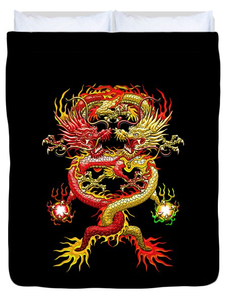 Brotherhood Of The Snake - The Red And The Yellow Dragons Duvet Cover by Serge Averbukh