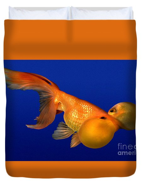 Bubble Eye Goldfish Duvet Cover by Wernher Krutein