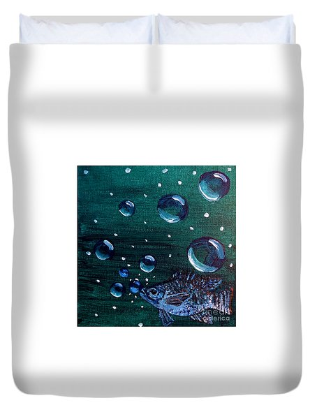 Duvet Cover featuring the painting Bubble Fish Underwater by Janelle Dey