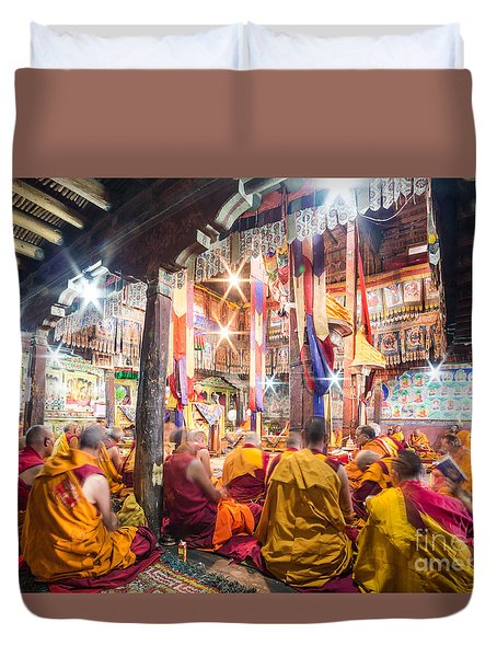 Buddhist Monks Praying In Thiksay Monastery Duvet Cover