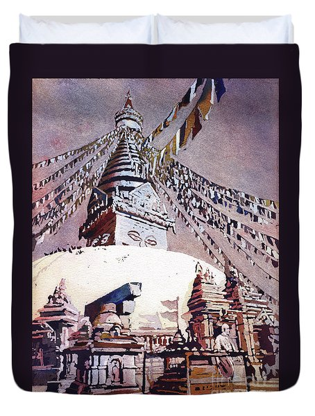 Duvet Cover featuring the painting Buddhist Stupa- Nepal by Ryan Fox