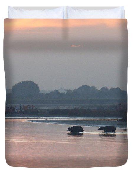 Buffalos Crossing The Yamuna River Duvet Cover