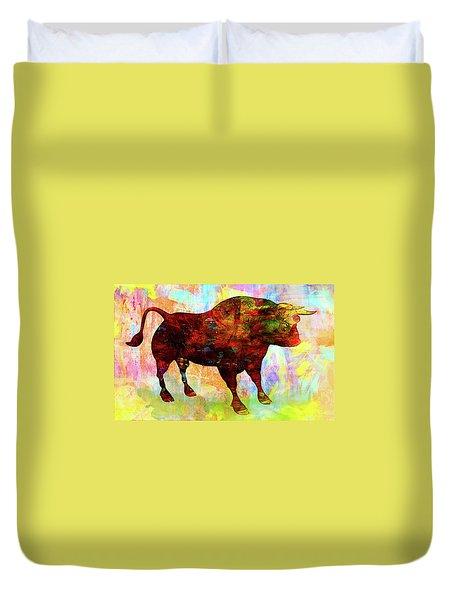 Bull Duvet Cover by Elena Kosvincheva