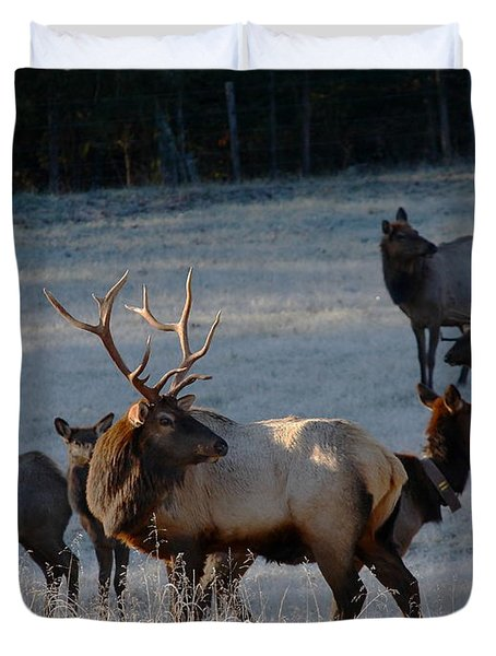 Duvet Cover featuring the photograph Bull Elk In Frost  by Michael Dougherty