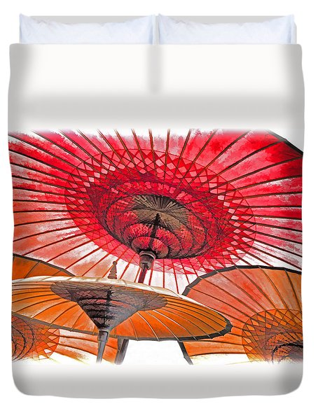Duvet Cover featuring the photograph Burmese Parasols by Dennis Cox WorldViews
