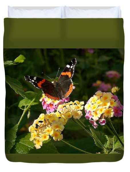 Duvet Cover featuring the photograph Busy Butterfly Side 2 by Felipe Adan Lerma