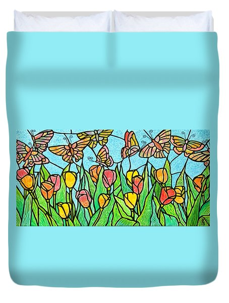 Duvet Cover featuring the painting Butterflies In The Tulip Garden by Jim Harris