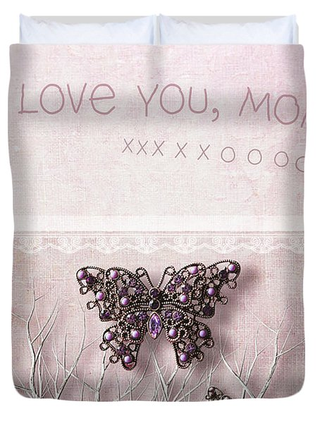Butterfly Pendants On Branches Duvet Cover