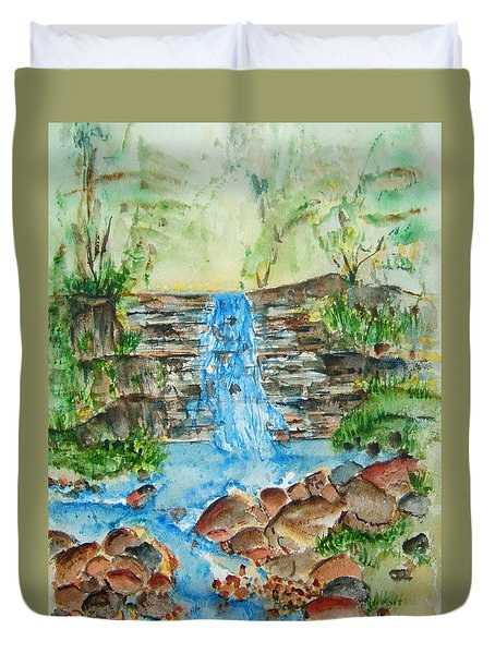 By A Waterfall Duvet Cover
