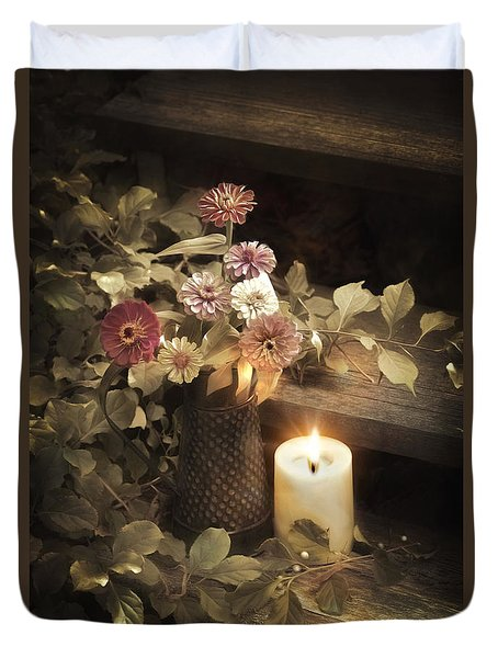 Duvet Cover featuring the photograph By Candle Light by Robin-Lee Vieira