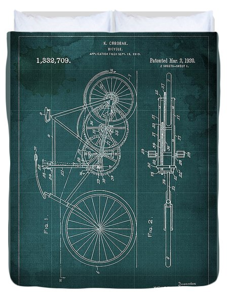 Bycicle Patent  1920 Duvet Cover