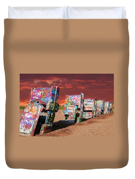 Duvet Cover featuring the photograph Cadillac Ranch by Carolyn Dalessandro
