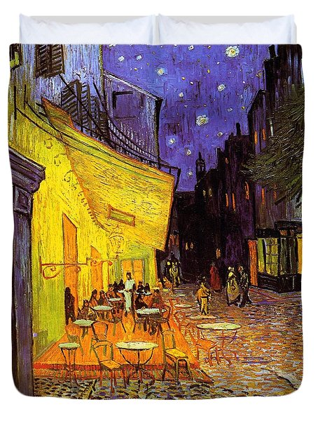 Duvet Cover featuring the painting Cafe Terrace At Night by Van Gogh