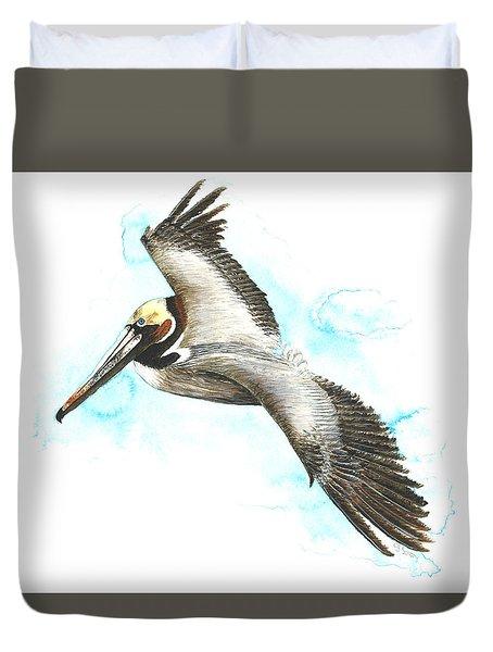 California Brown Pelican Duvet Cover