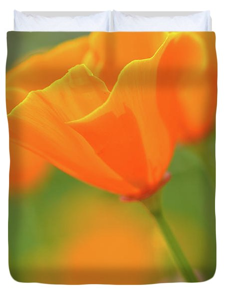 California Spring Poppy Macro Close Up Duvet Cover