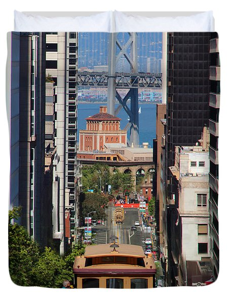 California Street Cable Car And The Bay Bridge Duvet Cover by Wernher Krutein