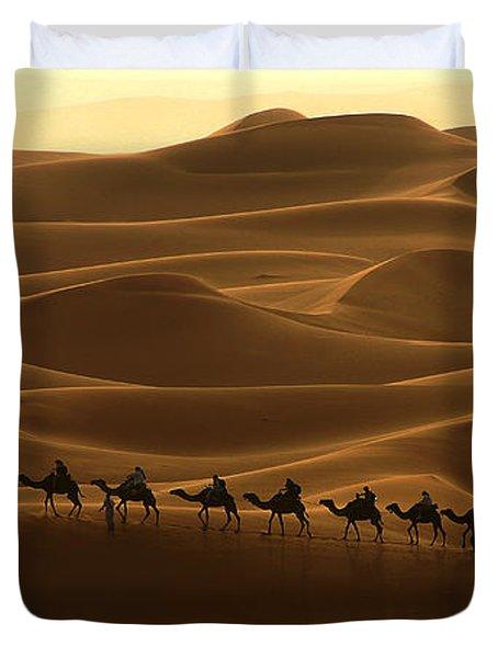 Camel Caravan In The Erg Chebbi Southern Morocco Duvet Cover
