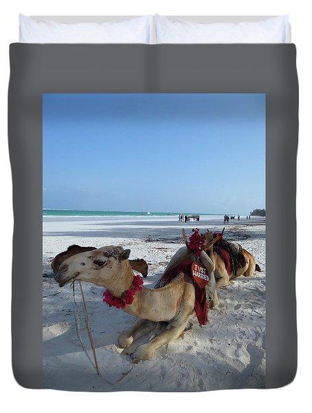Camel On Beach Kenya Wedding Duvet Cover