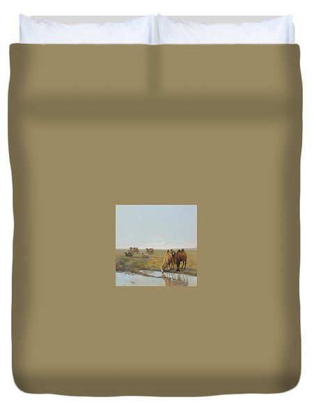 Camels Along The River Duvet Cover by Chen Baoyi