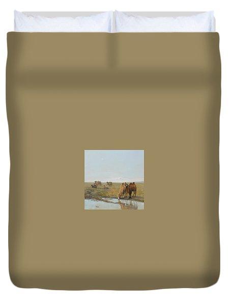 Camels Along The River Duvet Cover