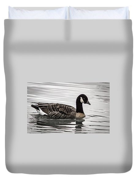 Duvet Cover featuring the photograph Canada Goose by Jean Noren