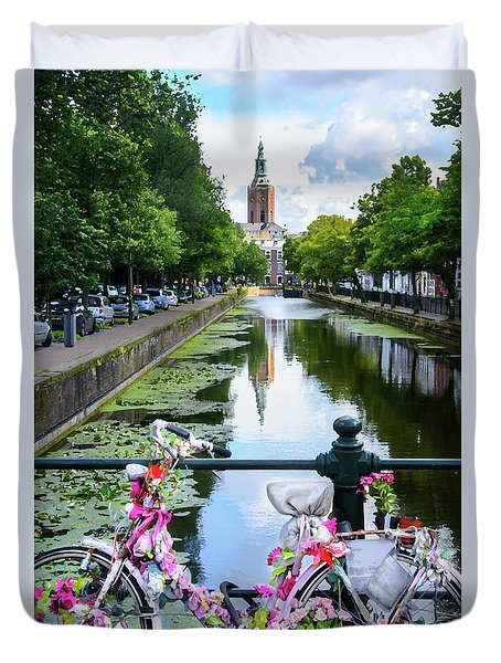 Duvet Cover featuring the digital art Canal And Decorated Bike In The Hague by RicardMN Photography