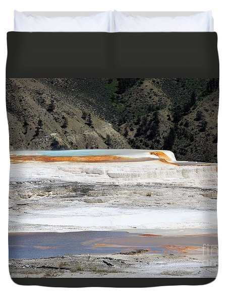 Canary Spring At Mammoth Hot Springs Upper Terraces Duvet Cover by Louise Heusinkveld
