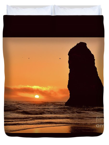 Cannon Beach Sunset Duvet Cover by Scott Cameron