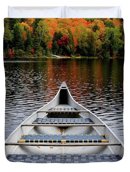 Canoe On A Lake Duvet Cover by Oleksiy Maksymenko