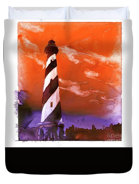Duvet Cover featuring the painting Cape Hatteras Lighthouse by Ryan Fox