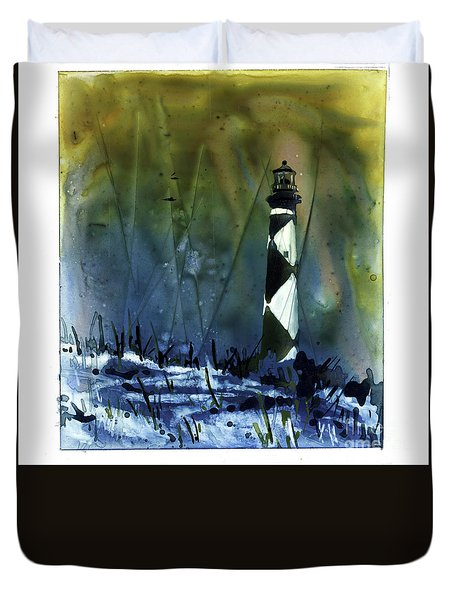 Duvet Cover featuring the mixed media Cape Lookout Lighthouse by Ryan Fox