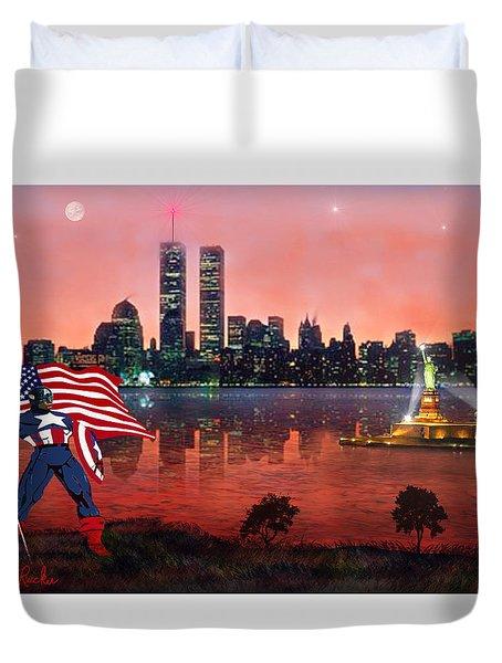 Captain America Duvet Cover by Michael Rucker