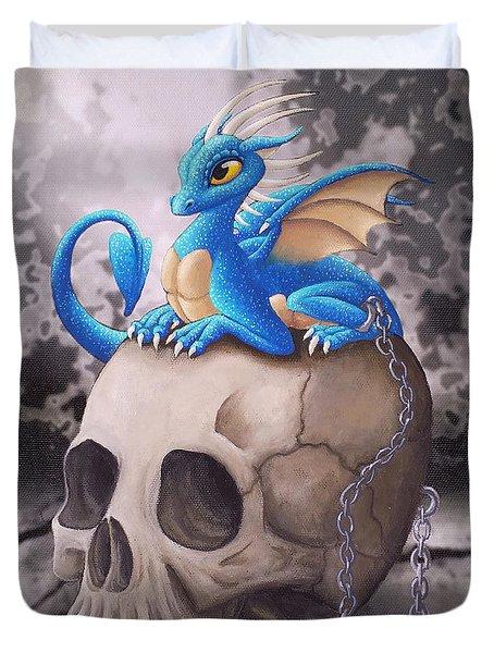 Captive Dragon On An Old Skull Duvet Cover