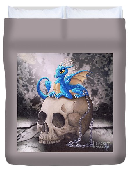 Captive Dragon On An Old Skull Duvet Cover