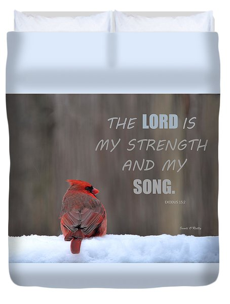 Cardinal In The Snowstorm With Scripture Duvet Cover by Sandi OReilly