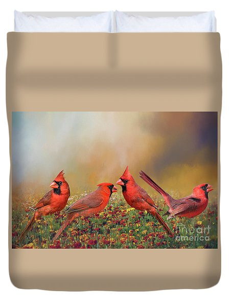 Duvet Cover featuring the photograph Cardinal Quartet by Bonnie Barry