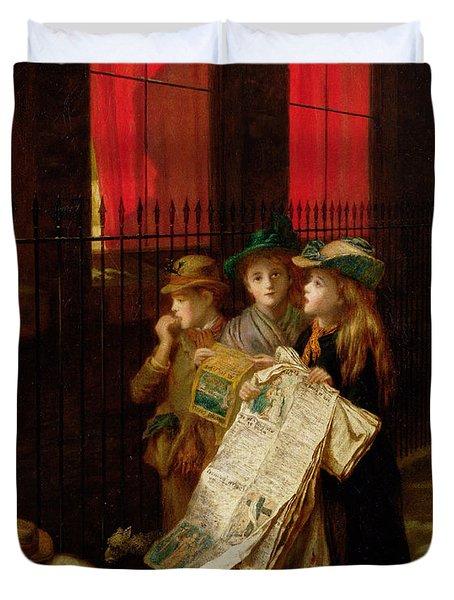 Carol Singers Duvet Cover by Augustus Edward Mulready