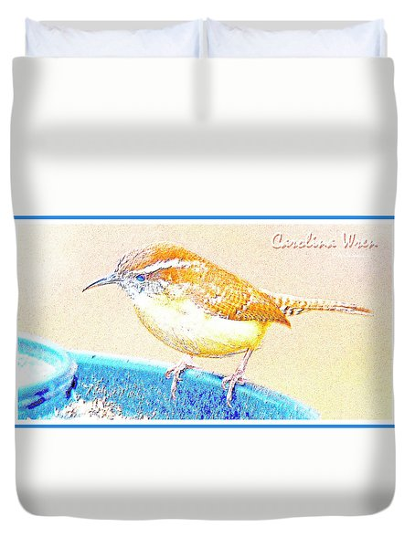 Carolina Wren, Winter Wren On Bird Feeder, Digital Art Duvet Cover