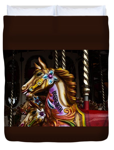 Duvet Cover featuring the photograph Carousel Horses by Steve Purnell