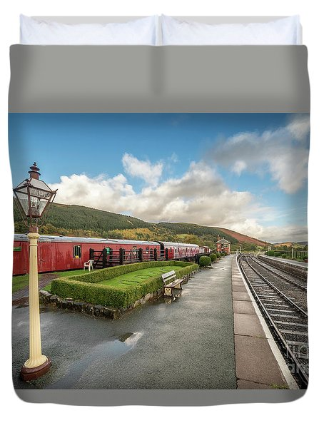 Duvet Cover featuring the photograph Carrog Railway Station by Adrian Evans
