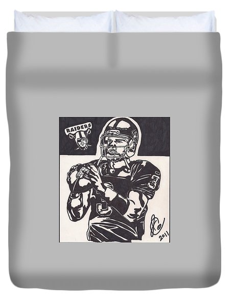 Duvet Cover featuring the drawing Carson Palmer 1 by Jeremiah Colley