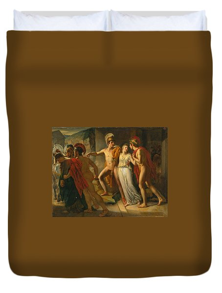Duvet Cover featuring the painting Castor And Pollux Rescuing Helen by Jean-Bruno Gassies