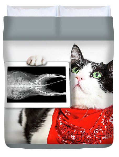 Cat With X Ray Plate Duvet Cover