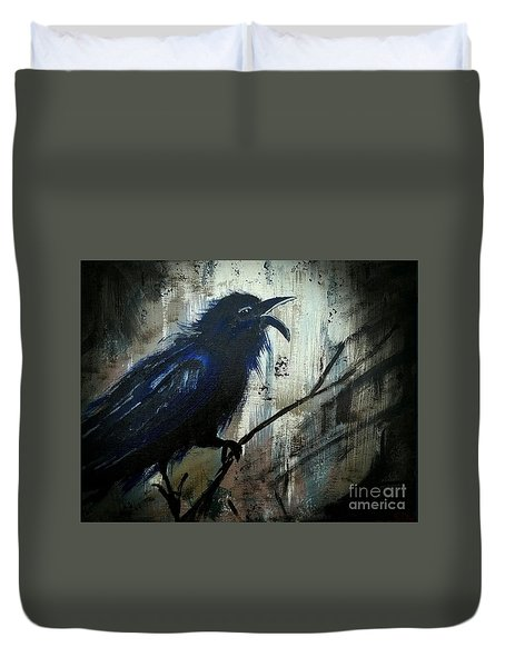 Cawing The Storm Duvet Cover