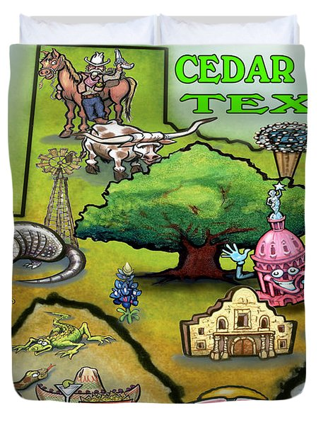 Cedar Park Texas Cartoon Map Duvet Cover