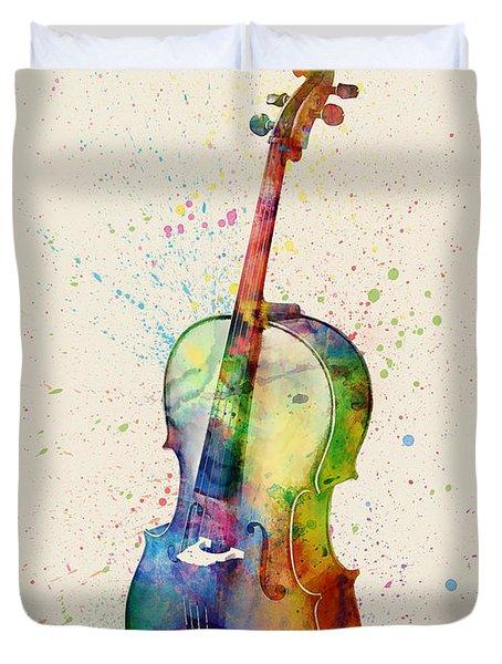 Cello Abstract Watercolor Duvet Cover