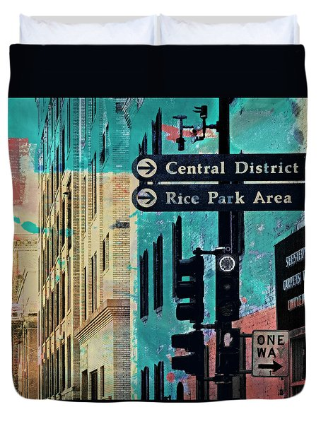 Duvet Cover featuring the photograph Central District by Susan Stone
